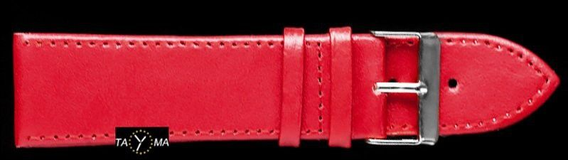 Pasek skórzany do zegarka - bordowy - 24mm