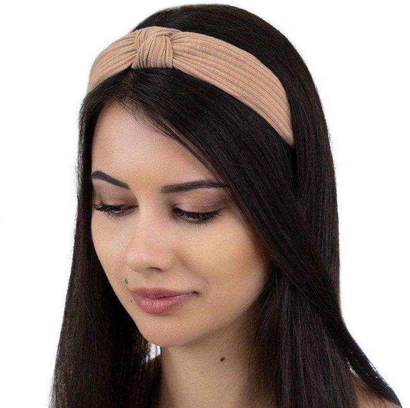 Opaska do włosów beżowa węzeł szeroka turban