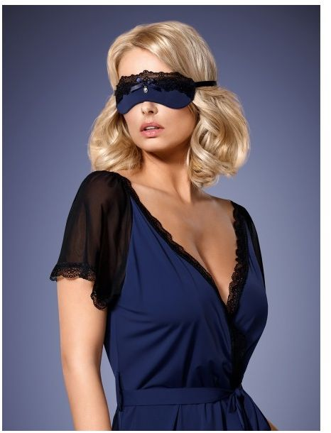 Erotyczna granatowa maska z koronką