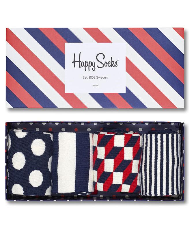 Kolorowe skarpetki Happy Socks - Zestaw Geometryczny, 4 pary