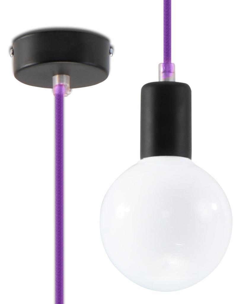 Lampa Wisząca EDISON Fioletowa SL.0156 - Sollux // Rabaty w koszyku i darmowa dostawa od 299zł !