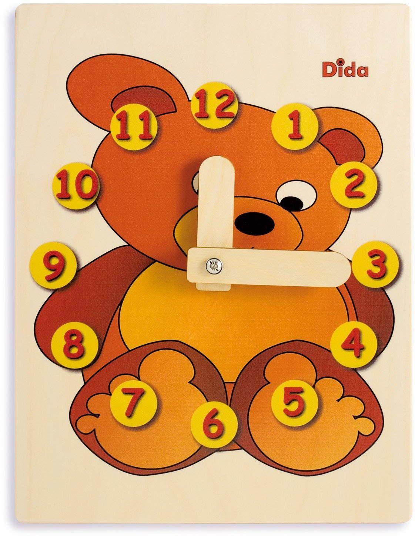 Dida - Zegar do nauki dla dzieci - miś - zabawny zegar do nauki dzieci, z drewna do przedszkola, szkoły przedszkolnej i domu