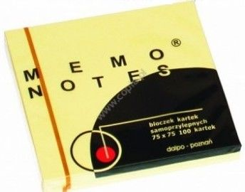 Bloczek samoprzylepny Memo Dalpo, 75 x 75 mm, 100 kartek, żółty -  Rabaty  Porady  Hurt  Wyceny   sklep@solokolos.pl   tel.(34)366-72-72