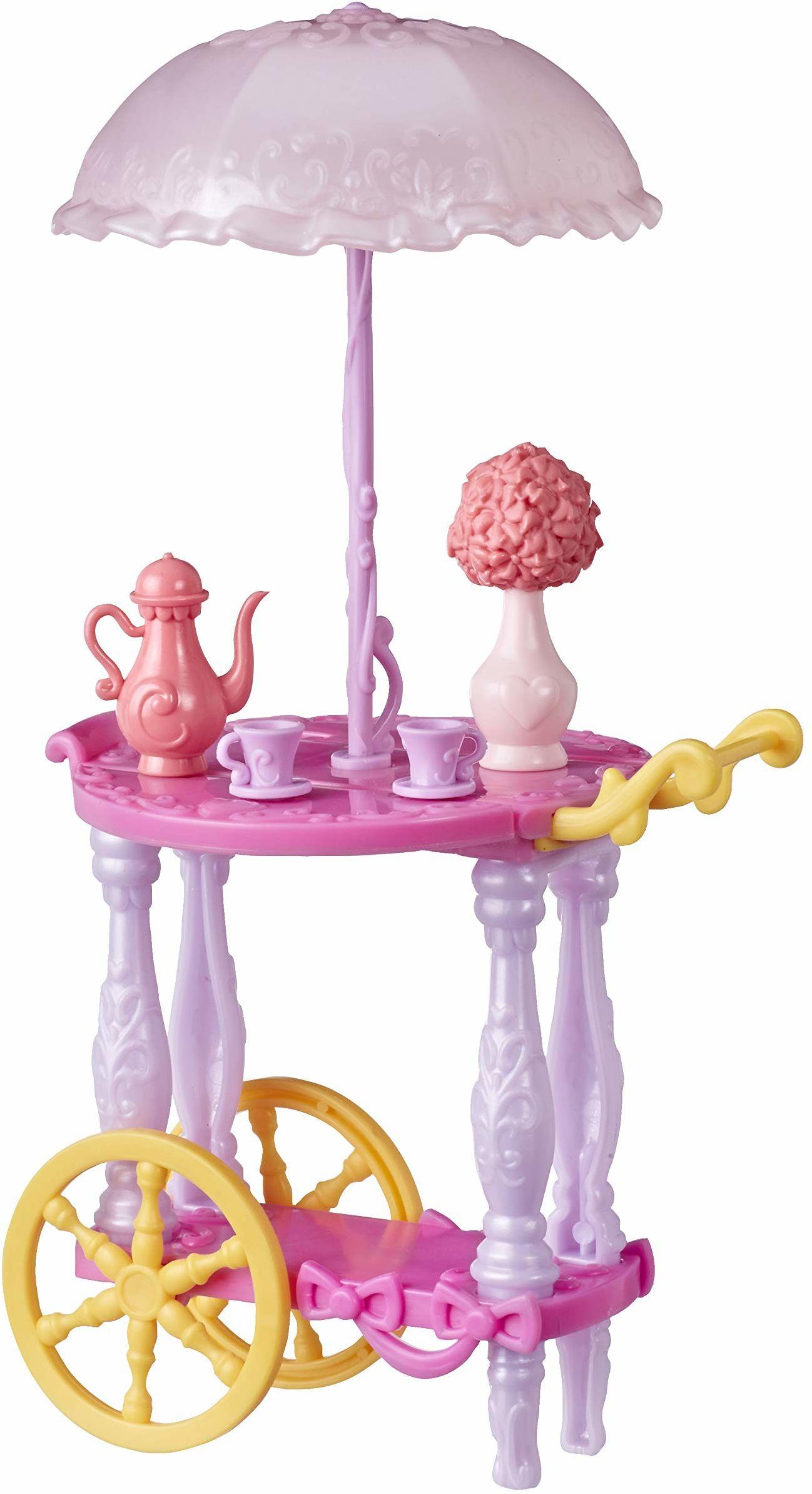 Hasbro Disney księżniczka wózek do serwowania lalek, z filiżankami do herbaty, dzbankiem do herbaty, wazonem na kwiaty i parasolem, zabawka dla dziewczynek od 3 lat