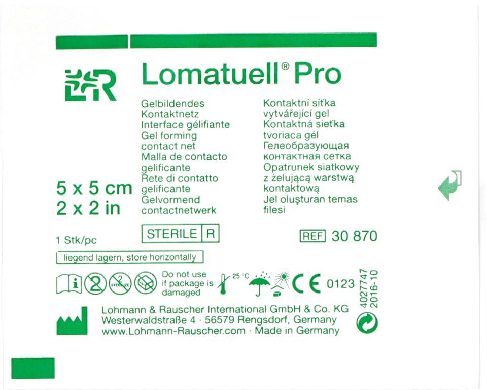 Opatrunek siatkowy z żelującą warstwą kontaktową Lomantuell Pro (LR)