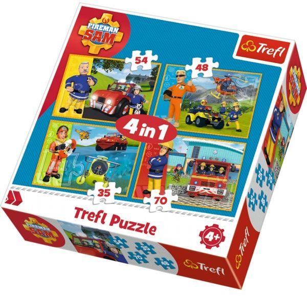 Puzzle 4w1 strażak sam na ratunek 3411 trefl fireman