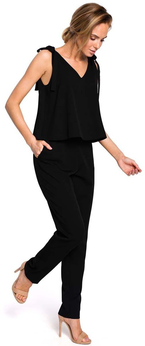 Czarny elegancki kombinezon z dwuwarstwową górą