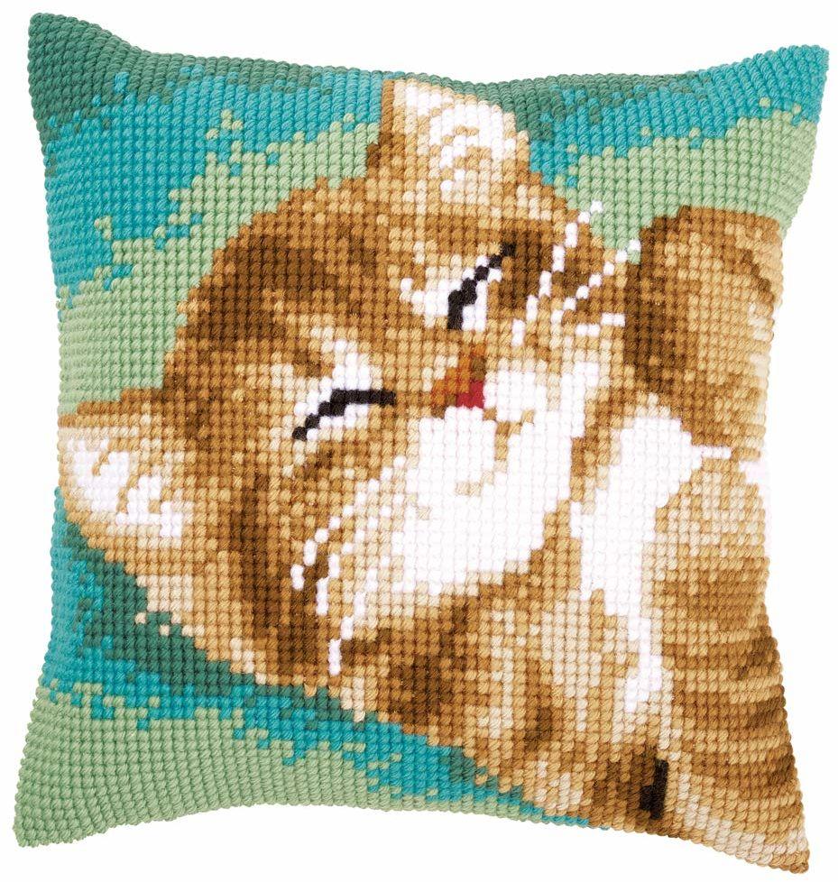 Poduszka Vervaco: Kot, akryl, różne, 10 x 1 x 14 cm