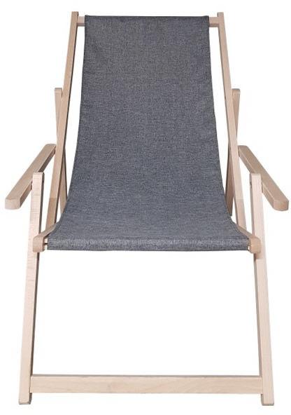 Drewniany leżak z podłokietnikiem, grafitowy Swing Sunbed Plus