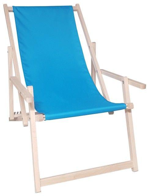 Drewniany leżak z podłokietnikiem, niebieski Swing Sunbed Plus
