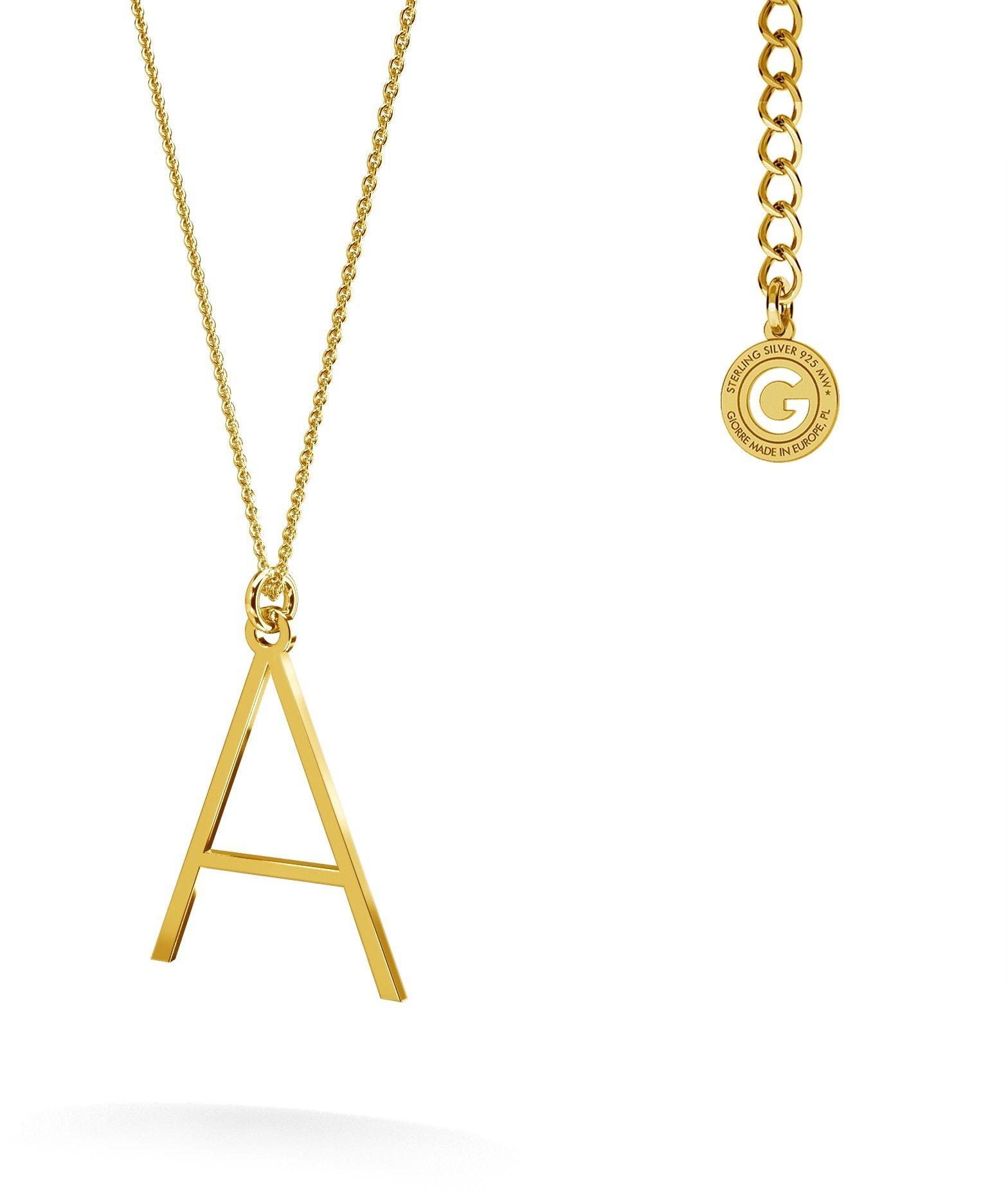 Srebrny naszyjnik z literką, alfabet, srebro 925 : Litera - R, Srebro - kolor pokrycia - Pokrycie platyną