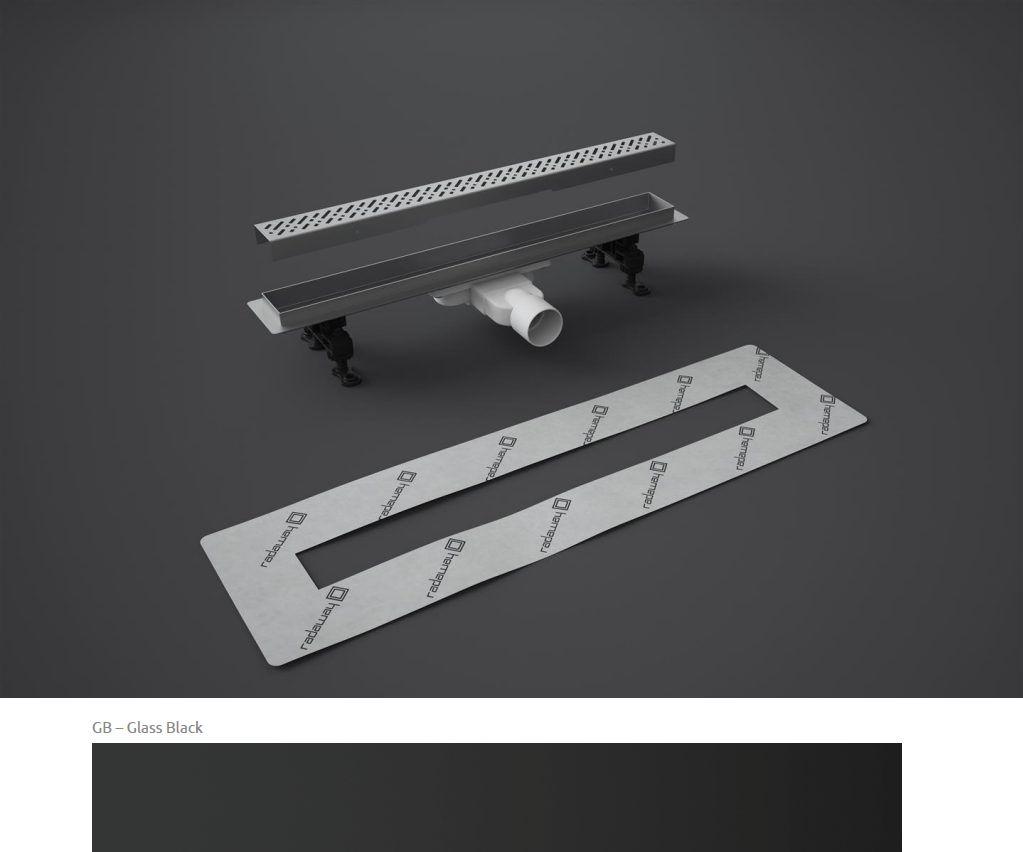 Odpływ liniowy Slim Radaway 95x6cm Glass Black 5L095S 5R095SGB