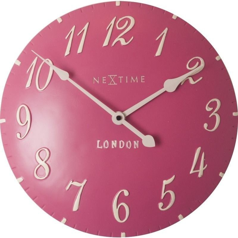 Nextime - zegar ścienny london arabic - różowy