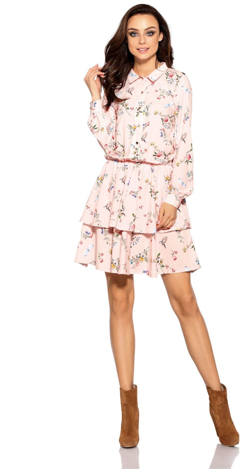 1 Sukienka L281 pudrowy róż w kwiatki PROMO