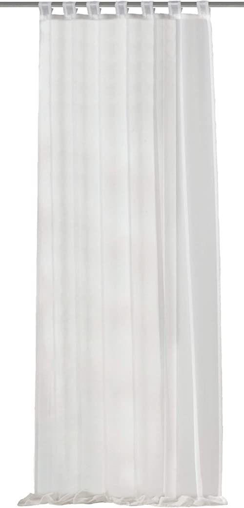Home Fashion 48441-801 zasłona na zakładki jednokolorowa woal 245 x 140 cm
