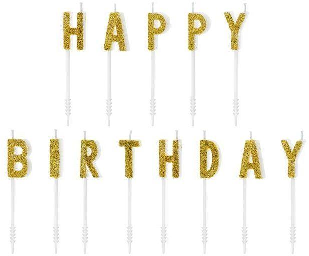 Świeczki urodzinowe Happy Birthday złote SCS-9-019B