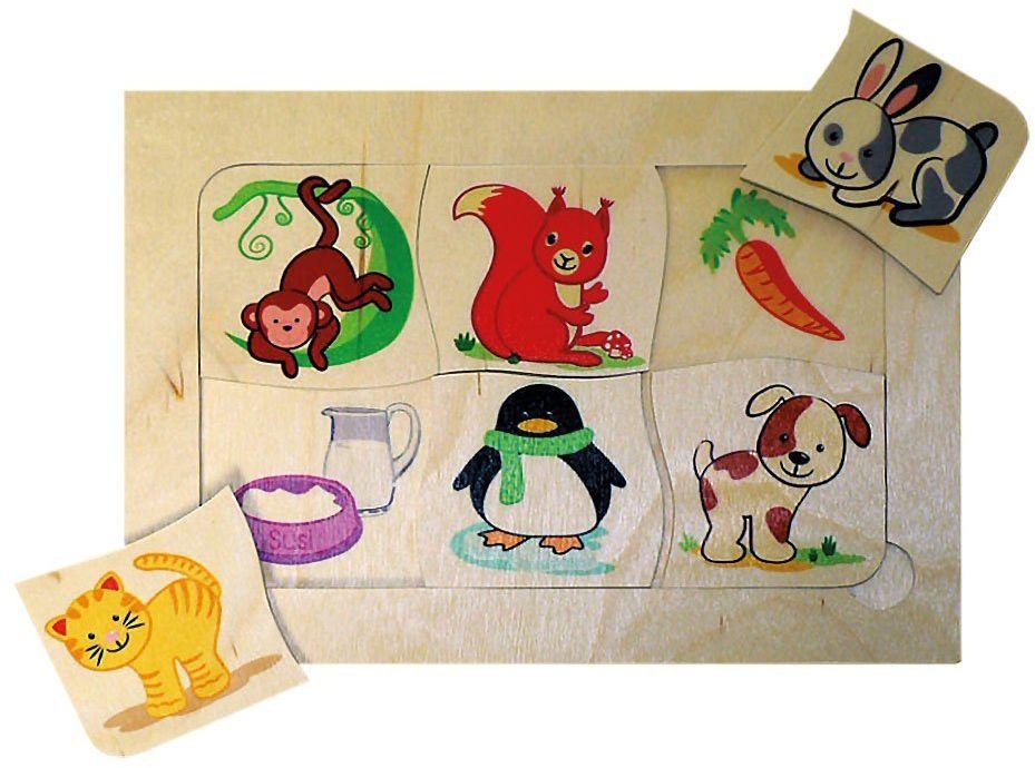 Hess drewniana zabawka 14879 - gra na nogach 6 zwierząt z karmą z drewna, 21 x 14,5 cm, kolorowa