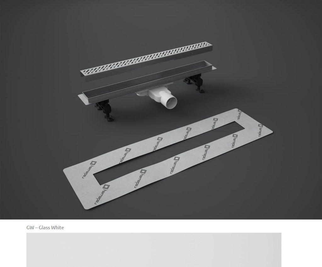 Odpływ liniowy Slim Radaway 95x6cm Glass White 5L095S 5R095SGW