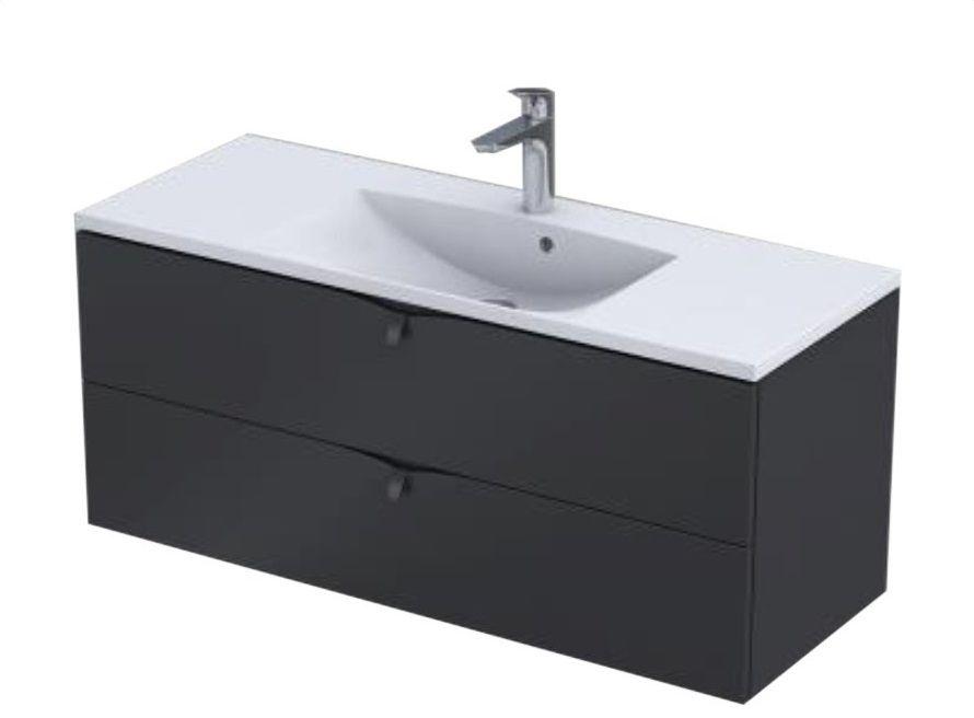 Oristo Siena szafka z umywalką 120x50x46 czarny mat OR45-SD2S-120-8/UME-AM-120-92-C
