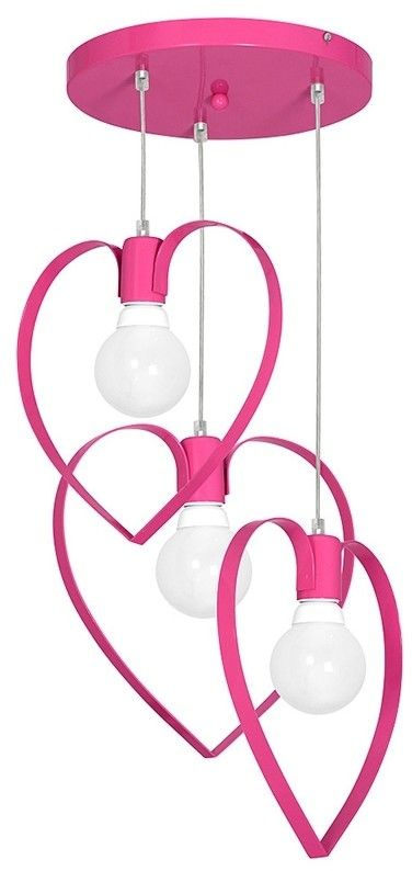 Lampa wisząca serduszka - Milagro AMORE DARK PINK MLP9957 - trzy klosze w kształcie serduszka * Super rabaty w koszyku * Darmowa wysyłka od 200 zł *