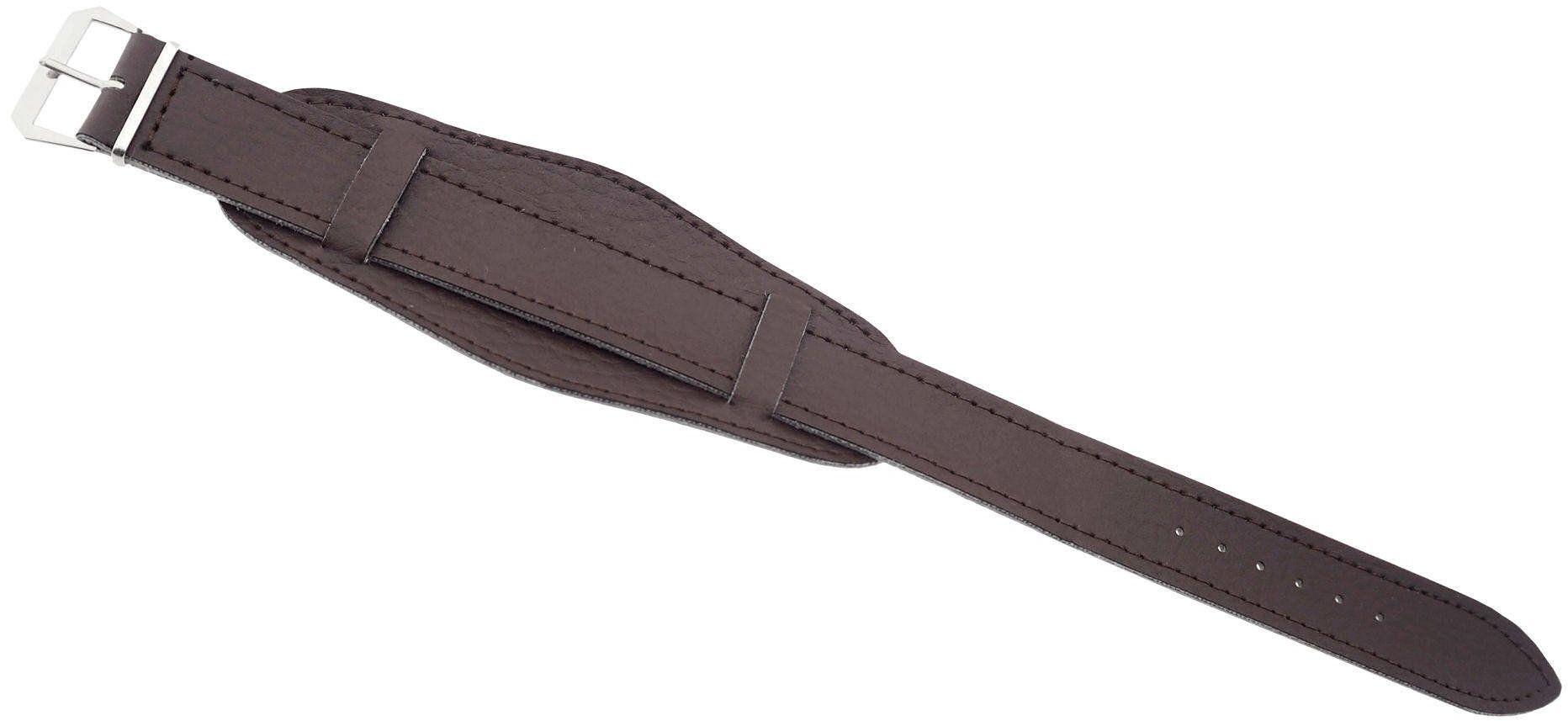 Skórzany pasek z podkładką do zegarka 12 mm brązowy