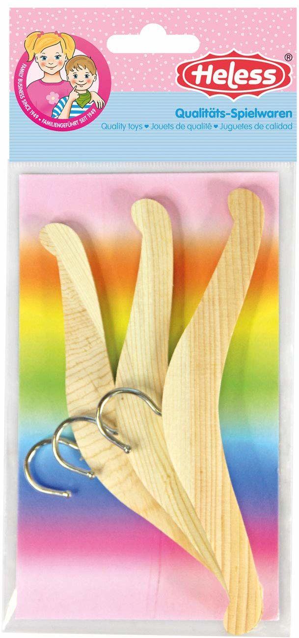 Heless 304 - wieszak na ubrania dla lalek, 3 sztuki, z drewna, akcesoria do domu dla lalek
