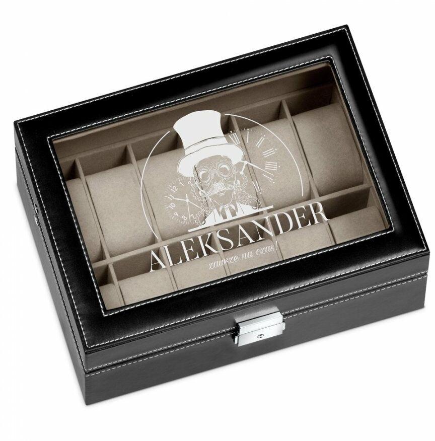 Szkatułka czarna kuferek na zegarki z grawerem dla niego na imieniny