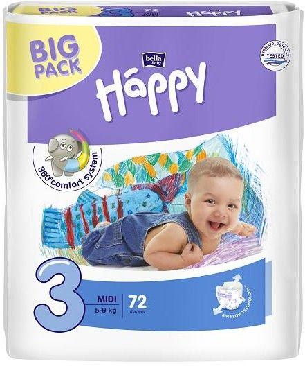 Bella Happy pieluszki Midi 3 (5-9kg) 72szt Big Pack