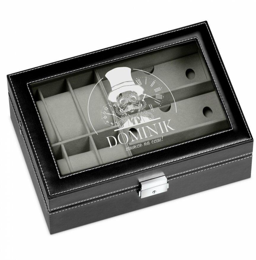 Szkatułka czarna na zegarki i okulary z grawerem dla niego pedanta