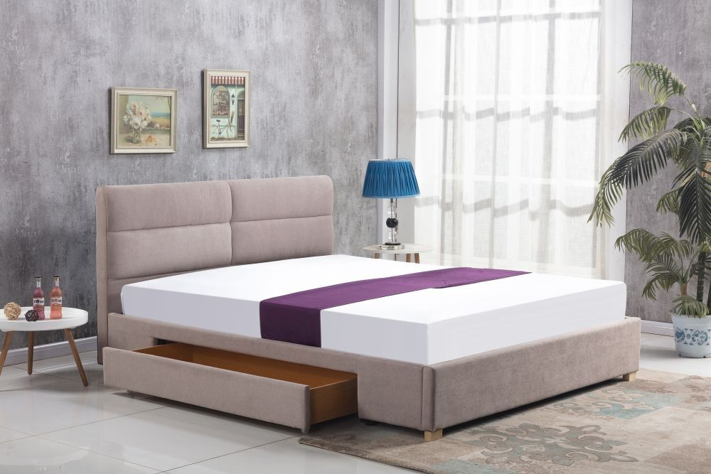 Łóżko Merida 160 z szufladą beżowy Halmar