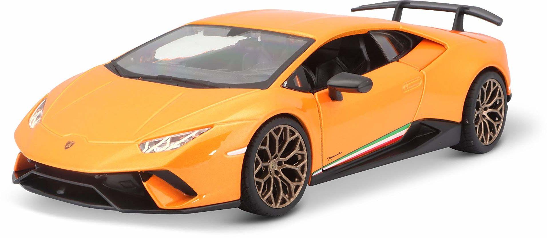 Bburago Lamborghini Huracan Performate: model samochodu w skali 1:24, otwieranie drzwi i bagażnika, 19 cm, pomarańczowy (18-21092OR)