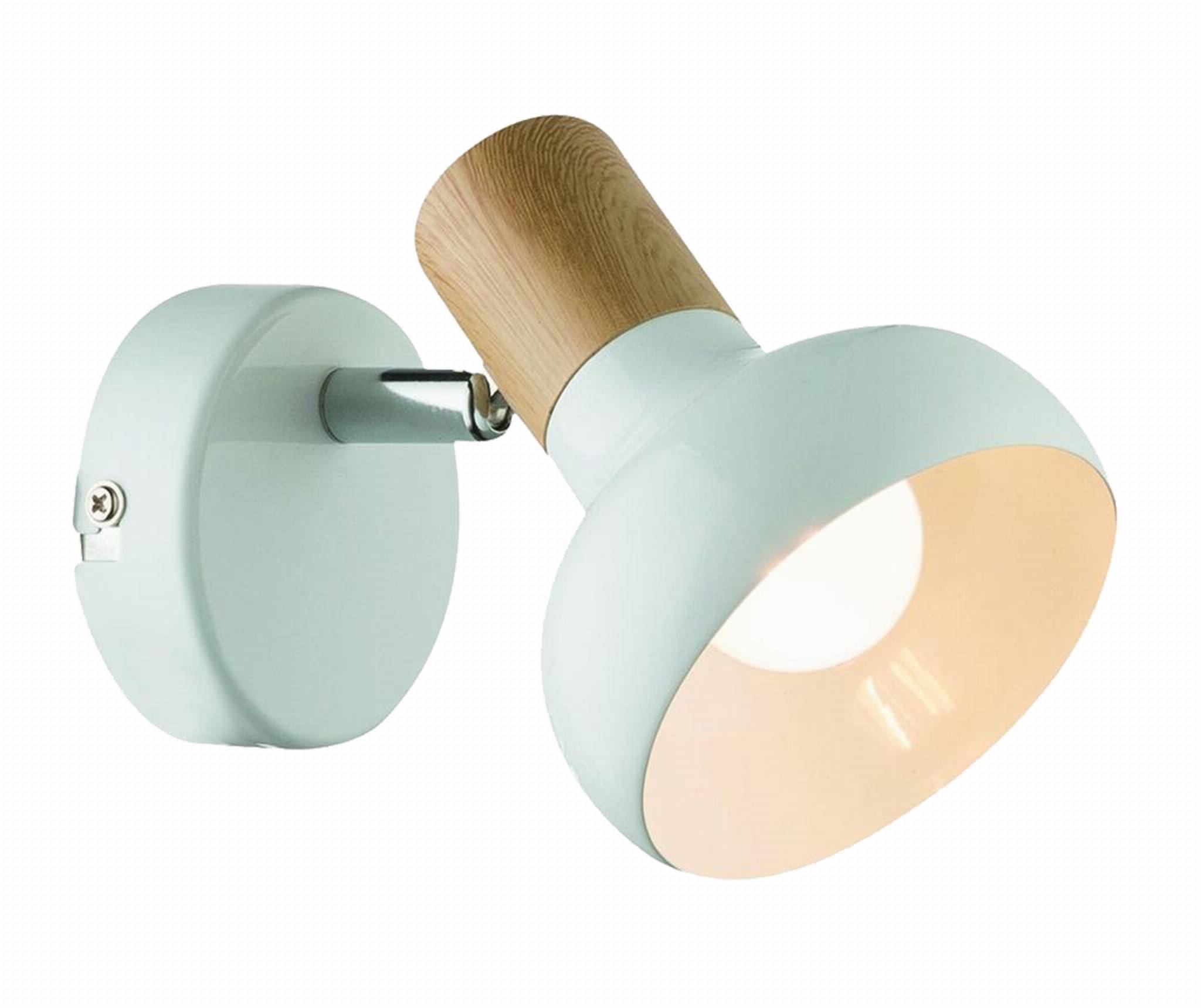 Light Prestige Arezzo LP-1420/1W WH kinkiet lampa ścienna biały metal drewno 1x40W E14 10cm