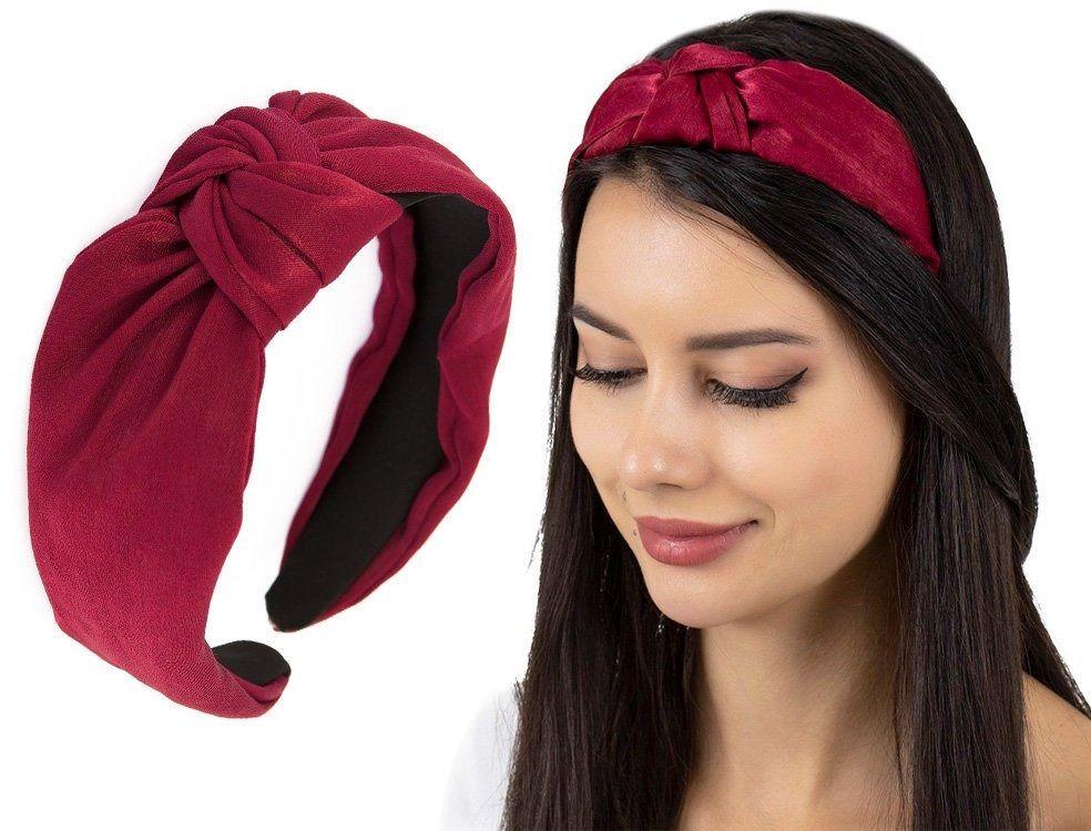 Opaska do włosów turban bordowa węzeł satynowa