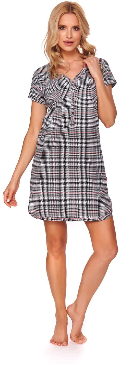 Bawełniana koszula nocna damska Doctor Nap TM.9415 Czarna