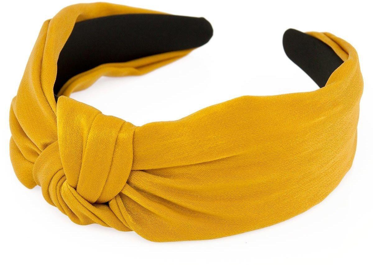 Opaska do włosów turban musztardowa węzeł satynowa
