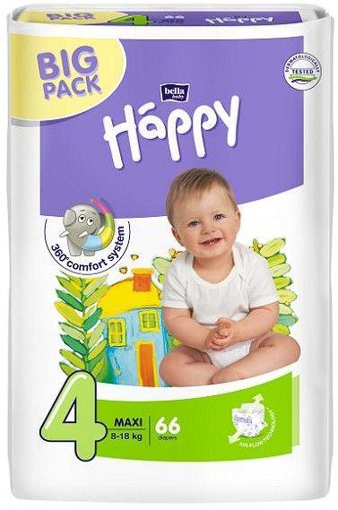 Bella Happy pieluszki Maxi 4 (8-18kg) 66szt Big Pack