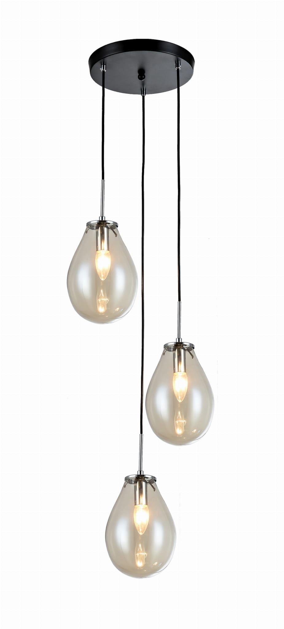 Light Prestige Fondi 3 LP-1214/3P lampa wisząca metal transparentny klosze szklane 3x40W E14 35cm