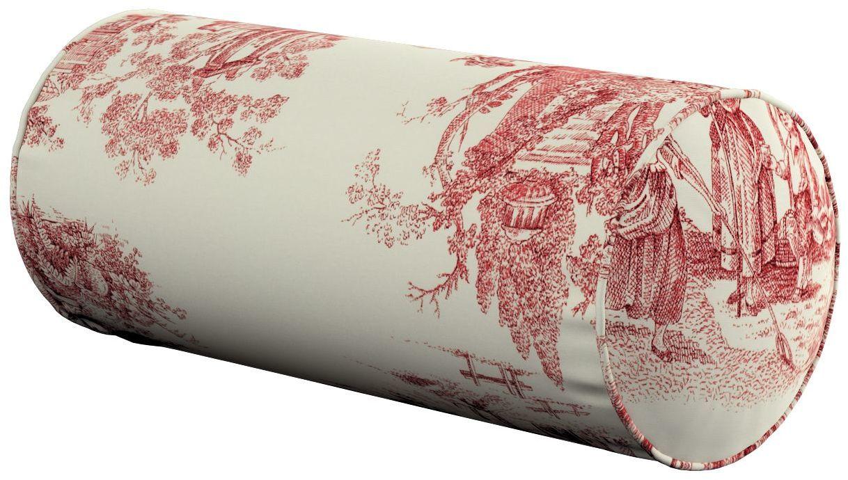 Poduszka wałek prosty, tło ecru, czerwone postacie, Ø16  40 cm, Avinon