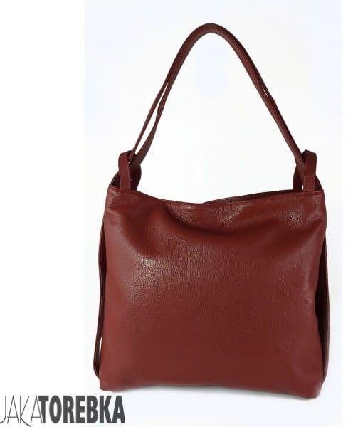 Skórzany plecak, worek na ramię, duży, ItalyBags, bordowy