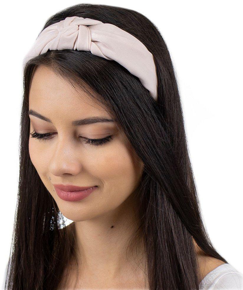 Opaska do włosów turban pudrowa węzeł satynowa