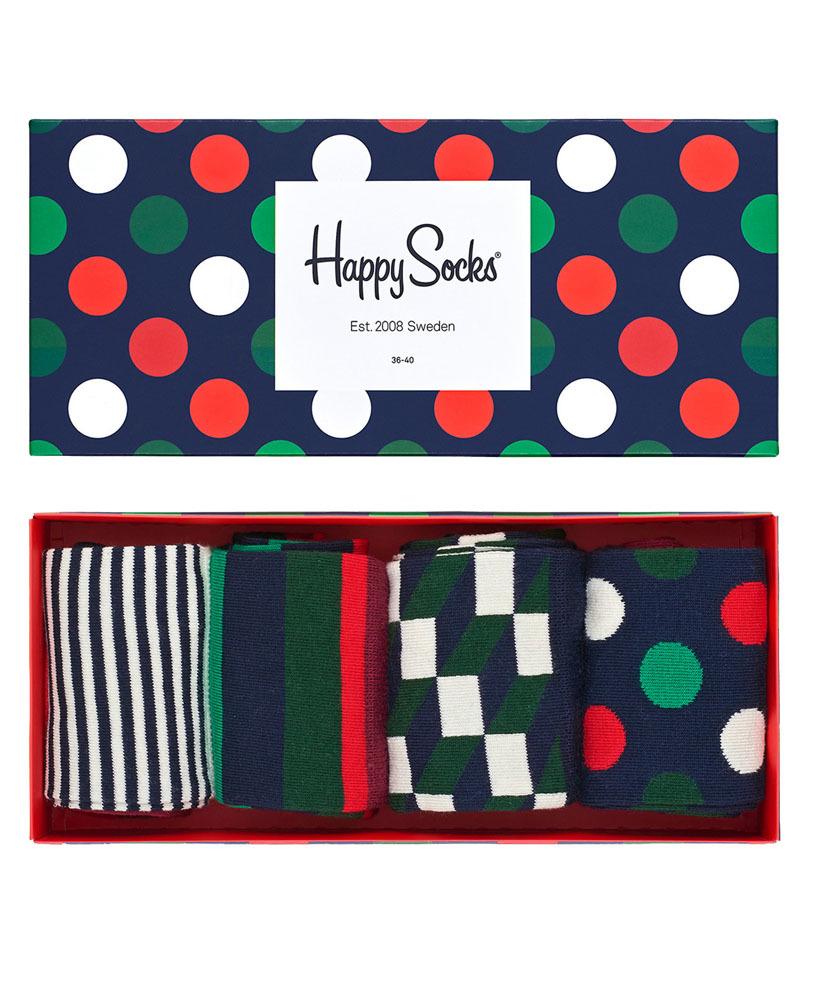 Kolorowe skarpetki Happy Socks - Holiday Big Dot Gift Box, 4 pary XBDO09-4000