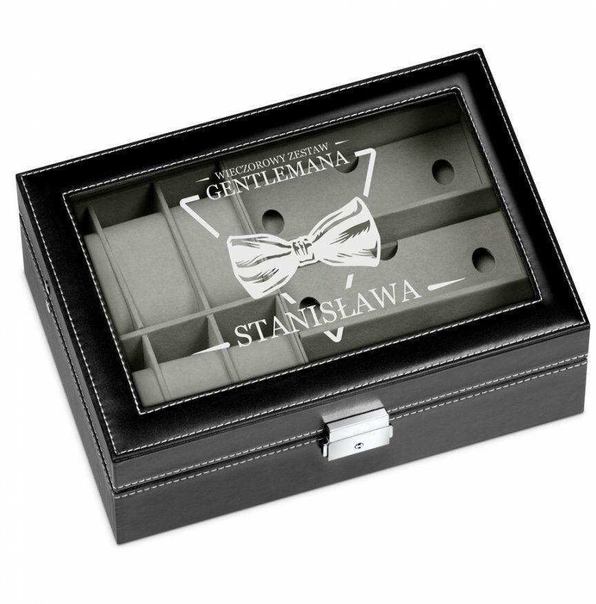 Szkatułka czarna na zegarki i okulary z grawerem dla gentlemana