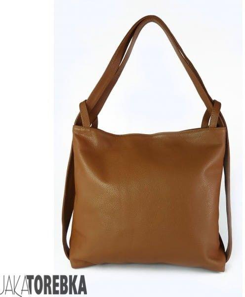 Skórzany plecak, worek na ramię, duży, ItalyBags, camel