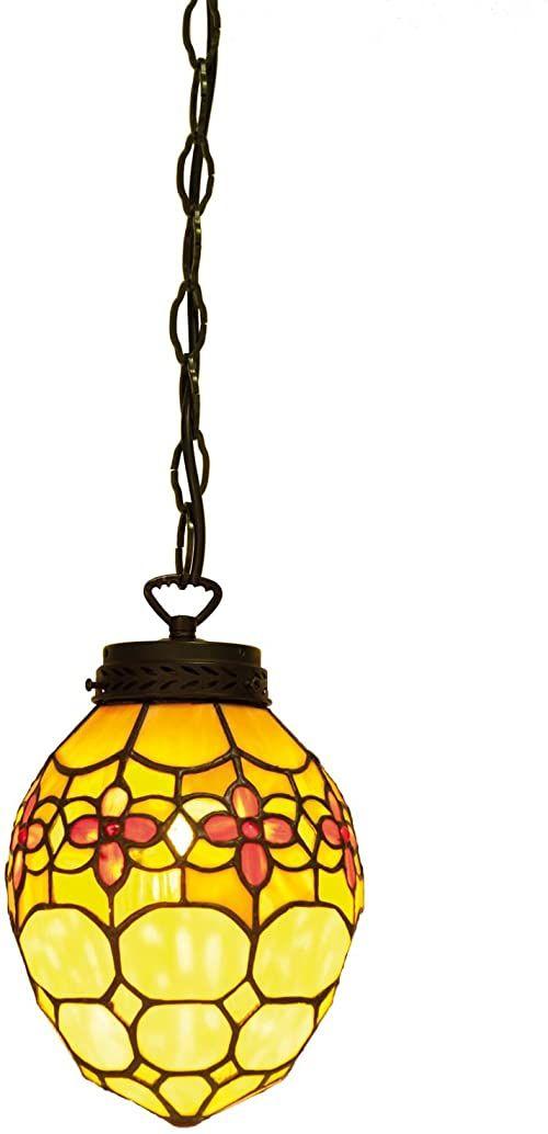 Lumilamp 5LL-5772 Tiffany styl lampa wisząca 24*155 cm E14 / maks. 40 W dekoracyjne kolorowe szkło Tiffany styl
