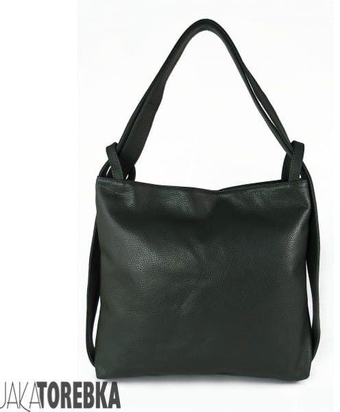 Skórzany plecak, worek na ramię, duży, ItalyBags, zielony