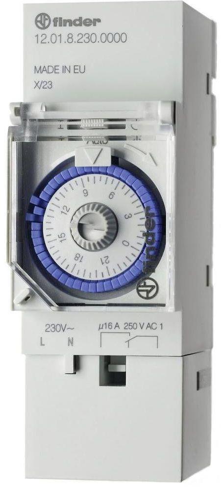 Programator dobowy mechaniczny Finder 12.01.8.230.0000 Programator dobowy mechaniczny 1CO 16A 230V AC Finder 12.01.8.230.0000