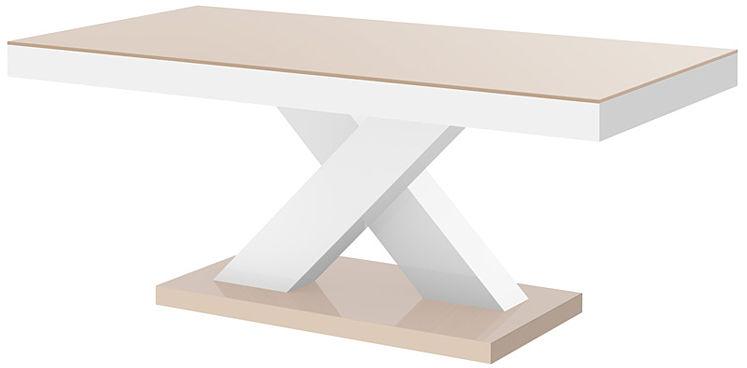 Praktyczny ławostół beżowo - biały połysk - Canelo 3X