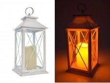 LAMPION Z ŚWIECĄ LED, Latarnia, ŚWIECZNIK, Znicz BIAŁY wys 30,5 cm