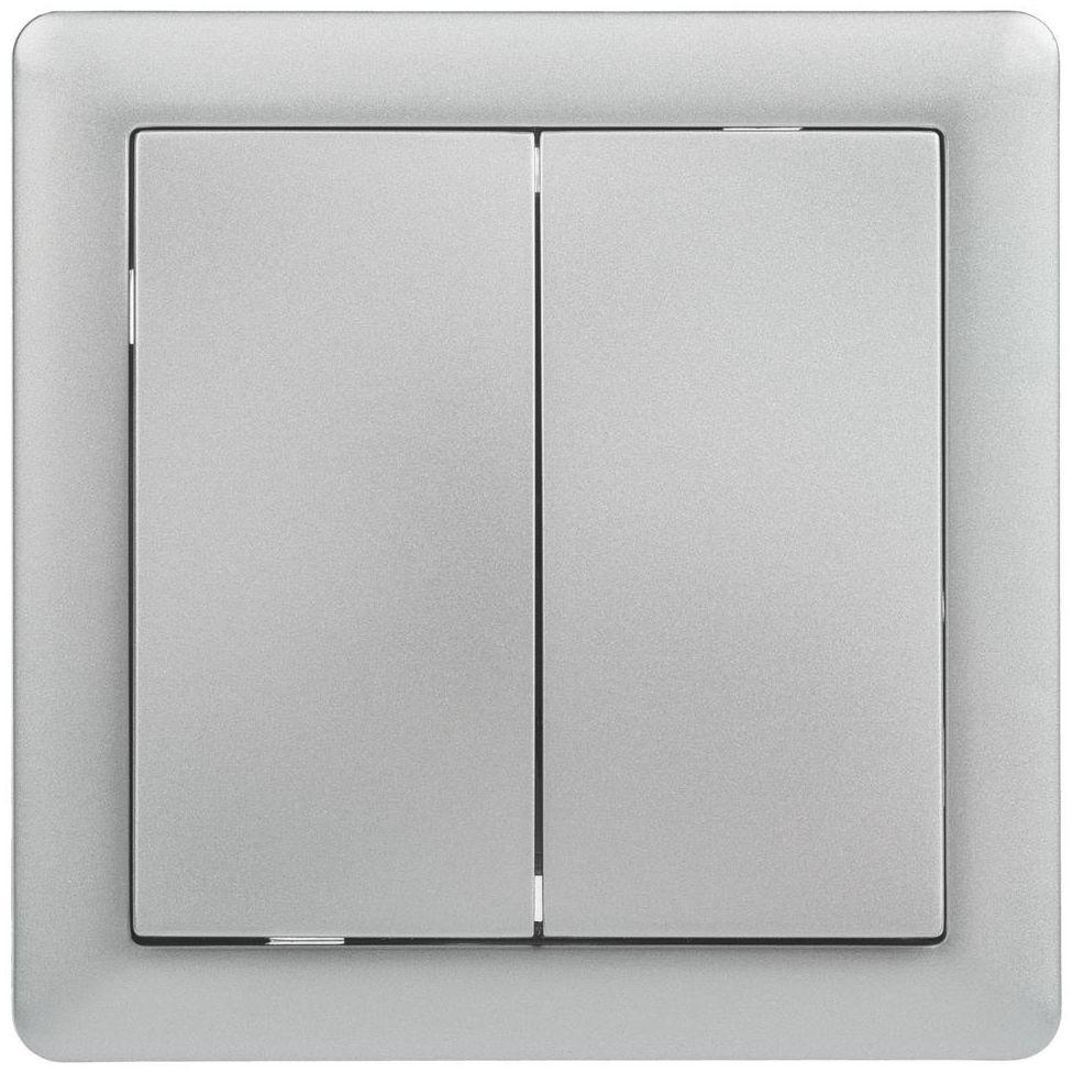 Włącznik podwójny PODWÓJNY SLIM Srebrny LEXMAN