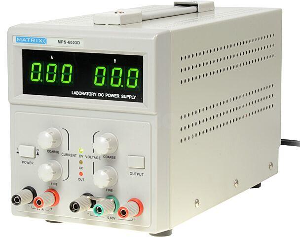 Zasilacz laboratoryjny MATRIX Kanały:2 0 60VDC 5VDC 0 3A 1A